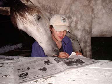 Prijateljstvo in radovednost morata biti vedno prisotna, kadarkoli smo z našimi konji. Monica Bretschnedier s Phantomom.
